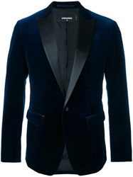 Dsquared2 Velvet Jacket With Leather Lapel Blue
