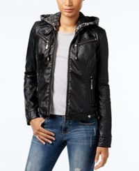 Joujou Jou Jou Faux Leather Knit Hood Jacket Black