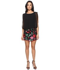 Aidan Mattox Blousson Cocktail Dress With Multi Colored Embroidered Floral Lace Skirt Red Multi Women's Dress