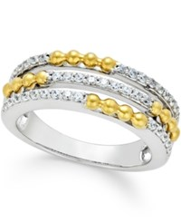 Macy's Diamond Beaded Band 1 3 Ct. T.W. In 14K Two Tone Gold