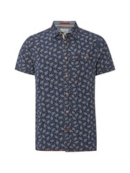 White Stuff Men's Grifter Print Ss Shirt Indigo