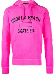 Dsquared2 Logo Beach Hoodie Pink And Purple