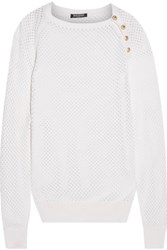 Balmain Open Knit Silk And Cashmere Blend Sweater White