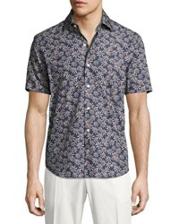 Culturata Floral Print Short Sleeve Cotton Shirt Navy