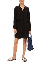 Topshop Drawstring Stripe Shirtdress Black