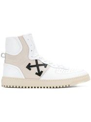 Off White Cross High Top Sneakers Men Calf Leather Leather Nylon Rubber 45 White