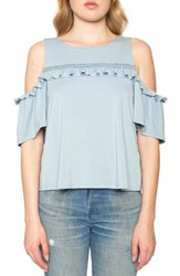 Willow And Clay Women's Ruffle Cold Shoulder Top French Blue
