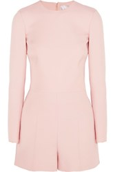 Valentino Cutout Wool And Silk Blend Crepe Playsuit Pastel Pink