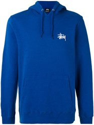 Stussy Basic Hooded Sweatshirt Men Cotton Polyester S Blue