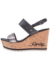 Replay Covina Wedge Sandals Black Pewter Copper