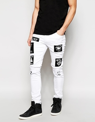 Asos Super Skinny Jeans With Patches White