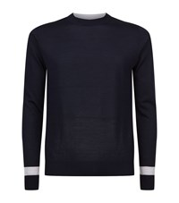 Hardy Amies Pure Wool Jumper Male Navy