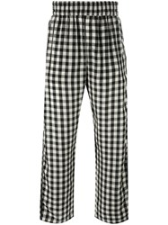 Off White Checked Loose Fit Trousers Black