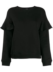 Red Valentino Ruffle Trim Sweatshirt Black