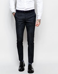Noose And Monkey Tuxedo Suit Trousers With Tonal Paisley Print In Skinny Fit Black