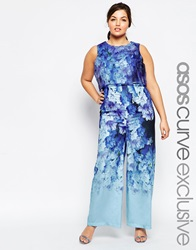 Asos Curve Salon Jumpsuit In Falling Flower Print Multi