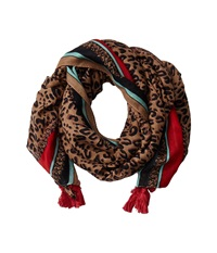 San Diego Hat Company Bss1507os Leopard Print Scarf W Pol Color Border And Tassels Brown Scarves