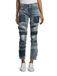 R 13 Alison Crop Distressed Patch Jeans Extreme Patch Leyton