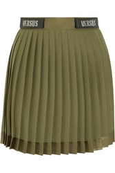 Versus By Versace Embellished Satin Trimmed Pleated Chiffon Mini Skirt Army Green