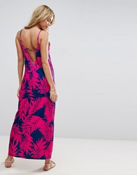 Asos Maxi Dress With V Back In Palm Print Palm Print Multi