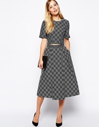 Whistles Ivy Midi Skirt In Monochrome Blackmulti