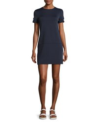 Helmut Lang Short Sleeve Neoprene Shift Dress Navy