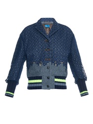 Kolor Lace Overlay Wool Bomber Jacket