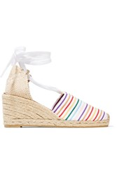Castaner Campesina Striped Canvas Wedge Espadrilles White
