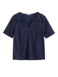 Sandwich Broderie Anglaise Top With Lace Detail Blue