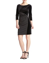 Tahari Arthur S. Levine Petite Julio Velvet And Polka Dot Pleated Dress Black Grey