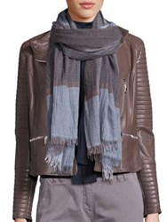 Eleventy Colorblock Fringe Hem Scarf Blue Grey