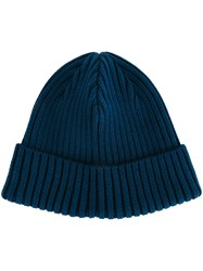 Kijima Takayuki Turn Up Ribbed Beanie Men Cotton Nylon Polyurethane One Size Blue