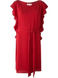 Michael Michael Kors Ruffle Sleeve Belted Dress Red