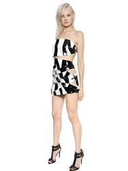 Anthony Vaccarello Strapless Coated Crepe Dress