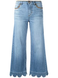 Red Valentino Wide Leg Scalloped Hem Jeans Blue