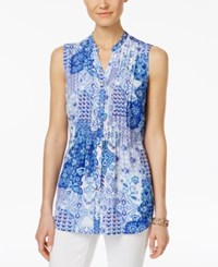 Charter Club Collage Print Sleeveless Shirt Only At Macy's Bright White