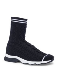 Fendi Knit Sneaker Booties Black White