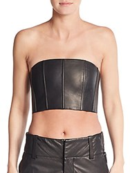 Alice Olivia Schultz Leather Bustier Top Black
