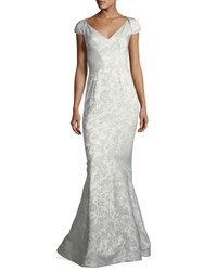 Zac Posen Party Jacquard Sweetheart Neck Cap Sleeve Evening Gown Silver