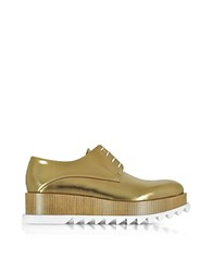 Jil Sander Bronze Leather Platform Oxford Shoe