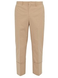 Wooyoungmi Cropped Cotton Blend Trousers Beige