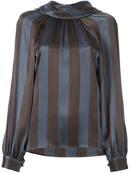 Christian Dior Vintage Vertical Stripe Blouse Grey