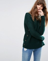 Asos Jumper In Wool Mix With Button Detail Forest Green