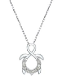 Macy's Diamond Infinity Turtle Pendant Necklace 1 10 Ct. T.W. In Sterling Silver