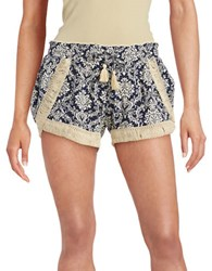 Vintage Havana Printed Embroidered Shorts Navy Ivory