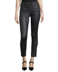 Ag Adriano Goldschmied Farrah Lace Up High Rise Skinny Leg Ankle Pants Black