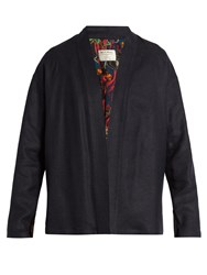 Etro Open Front Linen Blend Jacket Navy