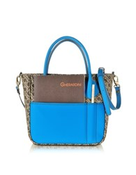 Gherardini Julieta Small Millerighe Fabric And Turquoise Eco Leather Top Zip Tote Bag