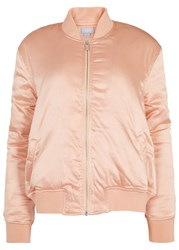 Finders Keepers Claude Light Peach Satin Bomber Jacket Pink