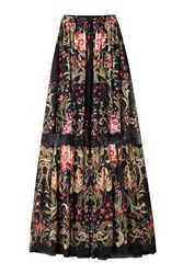 Roberto Cavalli Printed Silk Maxi Skirt With Lace Inserts Multicolor